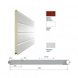 Панель 550мм Ндерево Доска/Нстукко Красно-коричневый(RAL8017)/Белый(RAL9003)